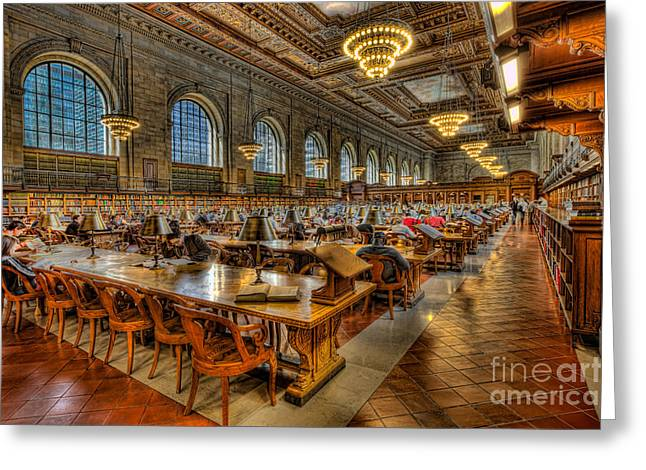 Main Branch Greeting Cards - New York Public Library Main Reading Room II Greeting Card by Clarence Holmes