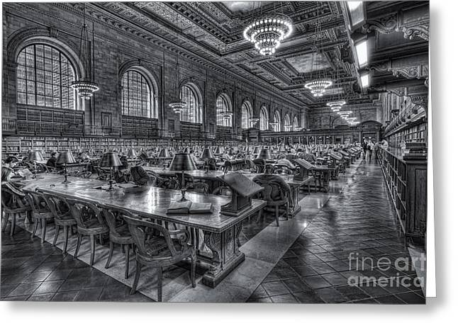 Main Branch Greeting Cards - New York Public Library Main Reading Room V Greeting Card by Clarence Holmes