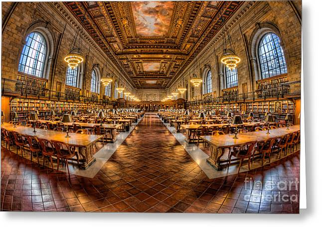 New York Public Library Main Reading Room Vii Greeting Card by Clarence Holmes