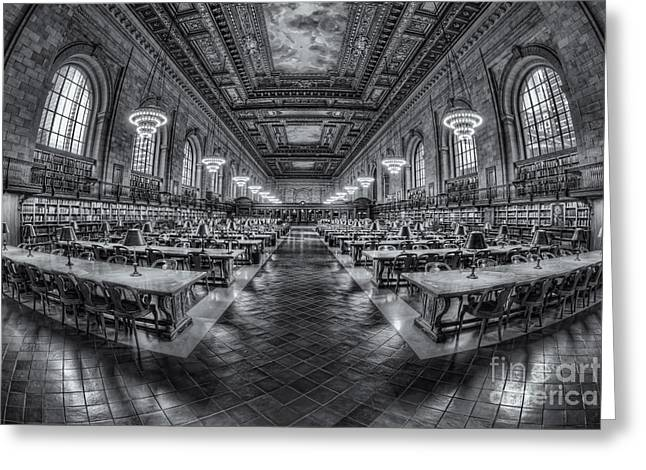Nypl Greeting Cards - New York Public Library Main Reading Room VIII Greeting Card by Clarence Holmes