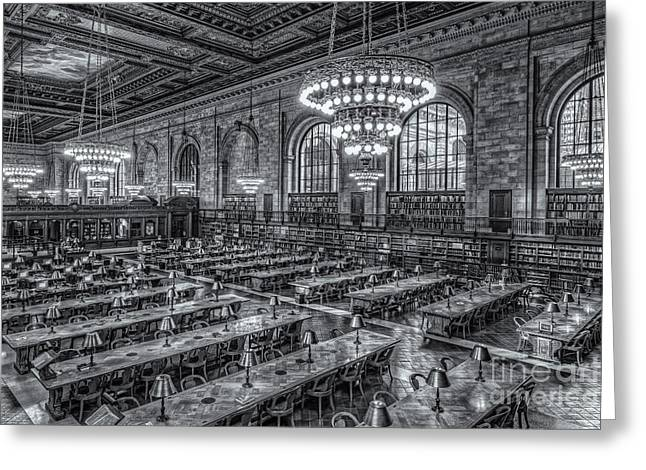 Main Branch Greeting Cards - New York Public Library Main Reading Room X Greeting Card by Clarence Holmes