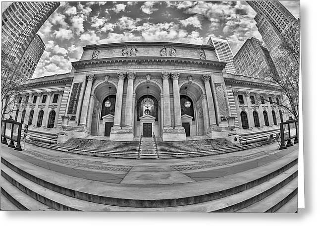 Empire State Building Greeting Cards - New York Public Library - NYPL BW Greeting Card by Susan Candelario