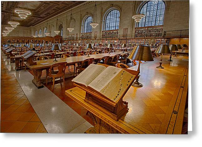 Quiet Read Greeting Cards - New York Public Library Rose Main Reading Room  Greeting Card by Susan Candelario
