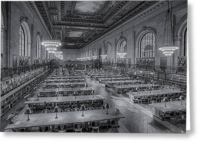 New York Public Library Rose Room Bw Greeting Card by Susan Candelario