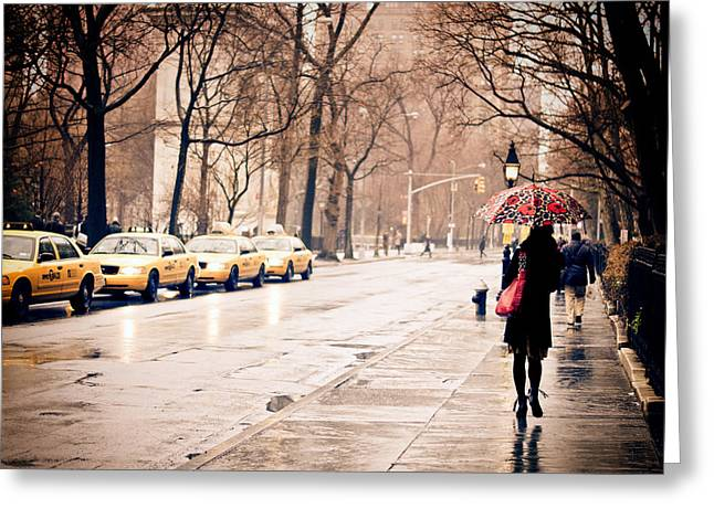 New York City Rain Greeting Cards - New York Rain - Greenwich Village Greeting Card by Vivienne Gucwa