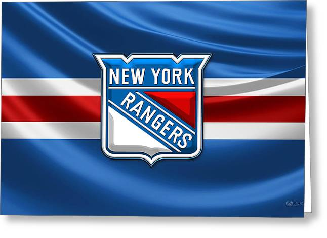Hockey Memorabilia Greeting Cards - New York Rangers - 3D Badge over Silk Flag Greeting Card by Serge Averbukh