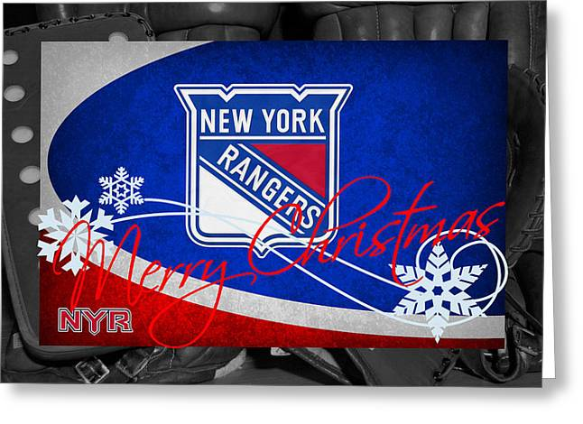 Ranger Greeting Cards - New York Rangers Christmas Greeting Card by Joe Hamilton