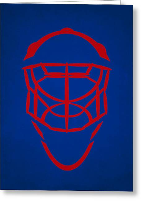 Ranger Greeting Cards - New York Rangers Goalie Mask Greeting Card by Joe Hamilton