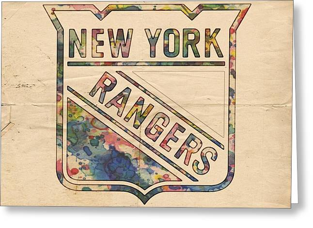 New York Rangers Hockey Poster Greeting Card by Florian Rodarte