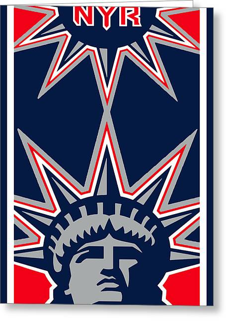 New York Rangers Paintings Greeting Cards - New York Rangers Greeting Card by Tony Rubino