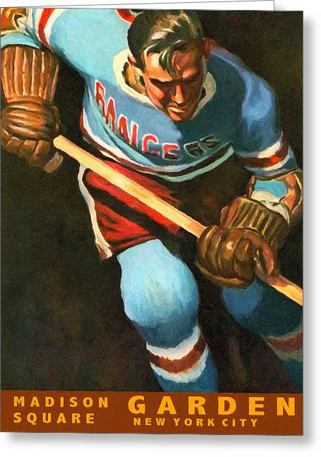 Puck Paintings Greeting Cards - New York Rangers Vintage Poster Greeting Card by Big 88 Artworks