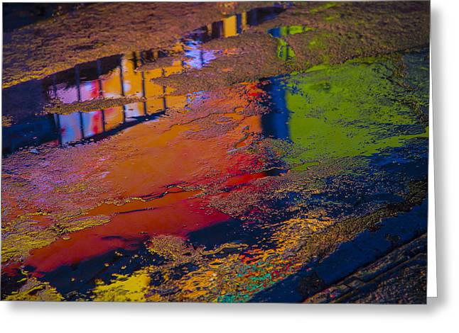 Pavement Greeting Cards - New York Reflections Greeting Card by Garry Gay
