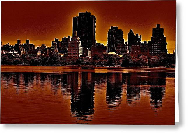 Water Effect Greeting Cards - New York Reflections Greeting Card by Joe  Burns