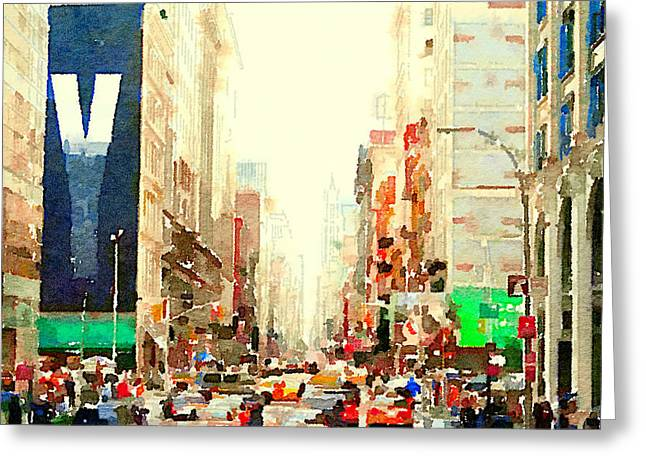 Live Art Greeting Cards - New York rush streets Greeting Card by Yury Malkov