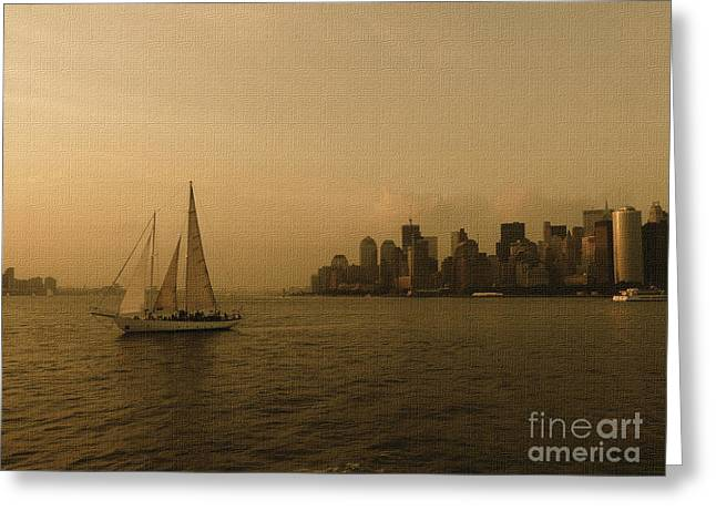 New York Sailing at Sunset Greeting Card by Avis  Noelle
