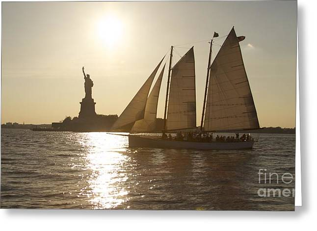 Recently Sold -  - Gloaming Greeting Cards - New York Sailing Greeting Card by Sean Conklin