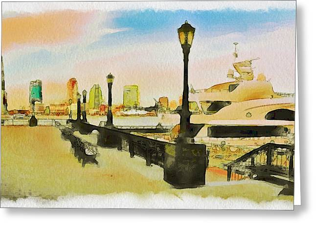 Live Art Greeting Cards - New York Scenes 1 Greeting Card by Yury Malkov