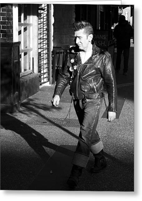Leather Jacket Greeting Cards - New York Shadows b Greeting Card by Jerry Cordeiro