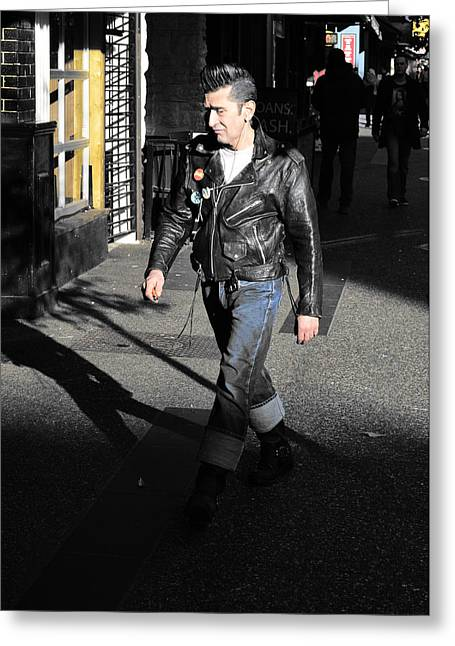 Leather Jackets Greeting Cards - New York Shadows Greeting Card by Jerry Cordeiro