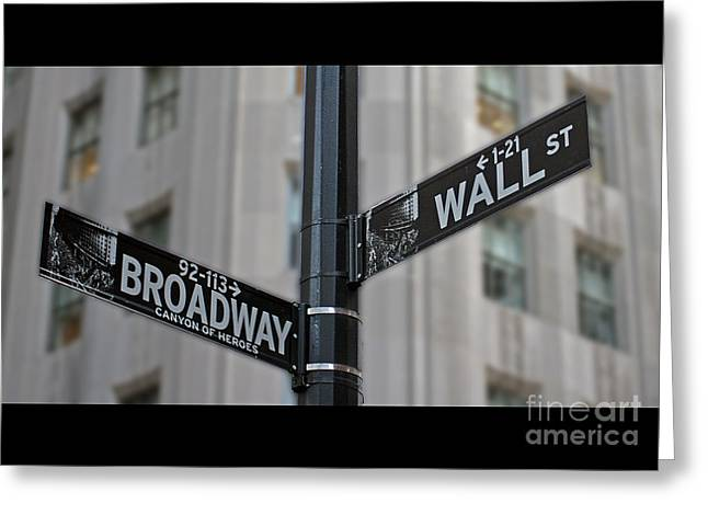 Wall Street Greeting Cards - New York Sign Broadway Wall Street Greeting Card by Lars Ruecker
