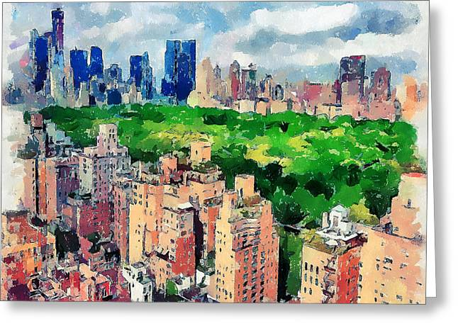 Live Art Greeting Cards - New York Sky View Greeting Card by Yury Malkov