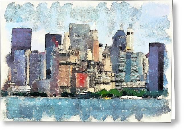 Live Art Greeting Cards - New York Skyline 2 Greeting Card by Yury Malkov
