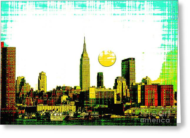 Brooklyn Bridge Mixed Media Greeting Cards - New York Skyline  Greeting Card by Celestial Images