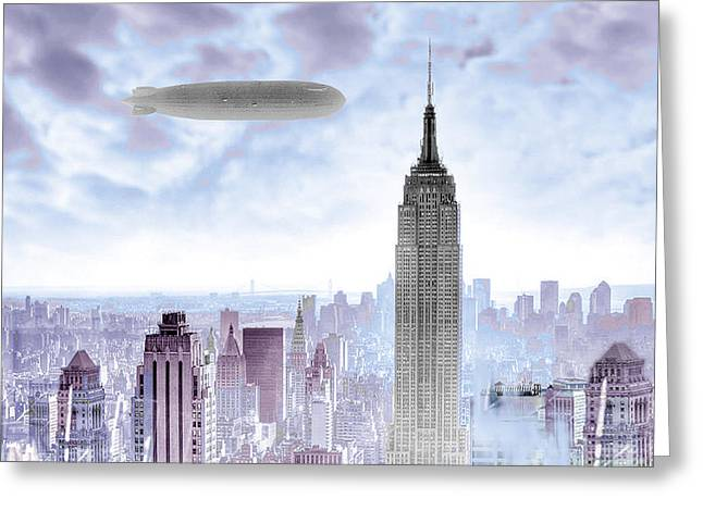 Old Home Place Greeting Cards - New York Skyline and Blimp Greeting Card by Tony Rubino