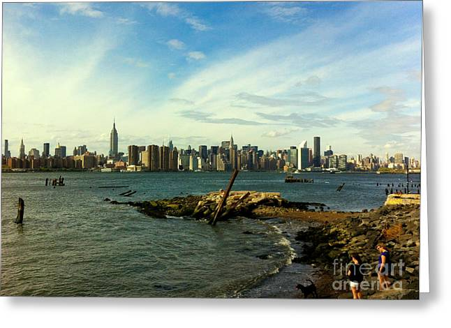 New York Skyline - Another View From The Brooklyn Waterfront Greeting Card by Miriam Danar