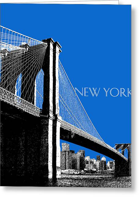 Pen Greeting Cards - New York Skyline Brooklyn Bridge - Blue Greeting Card by DB Artist