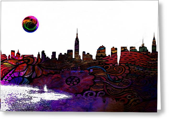 Lincoln Park Lagoon Greeting Cards - New York Skyline Greeting Card by Celestial Images