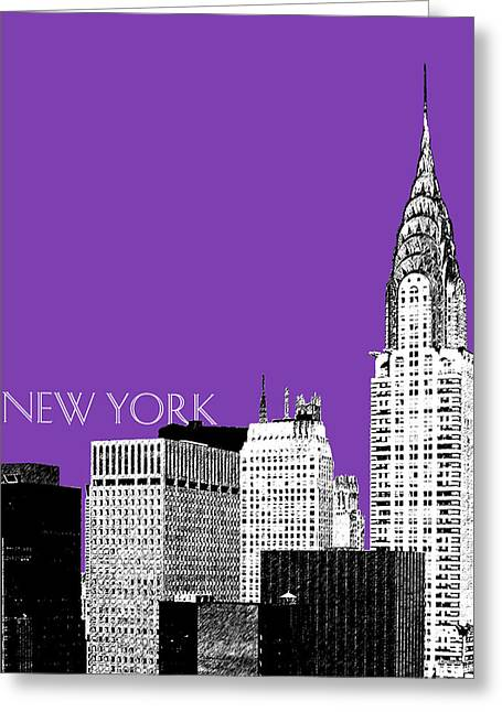 Pen And Ink Greeting Cards - New York Skyline Chrysler Building - Purple Greeting Card by DB Artist