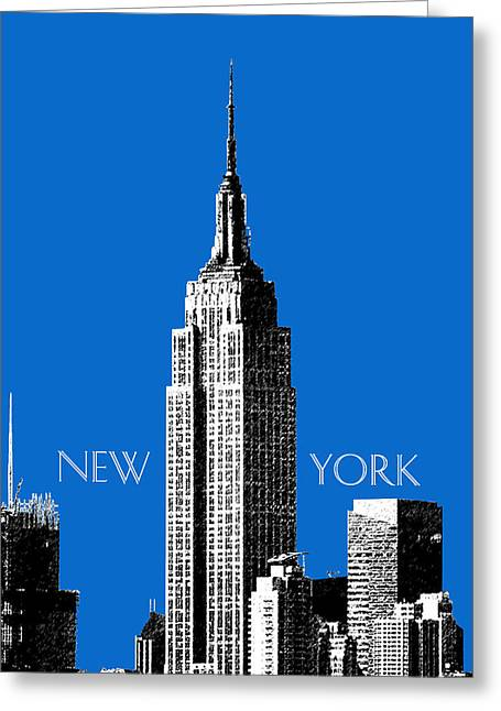 Db Artist Greeting Cards - New York Skyline Empire State Building - Blue Greeting Card by DB Artist
