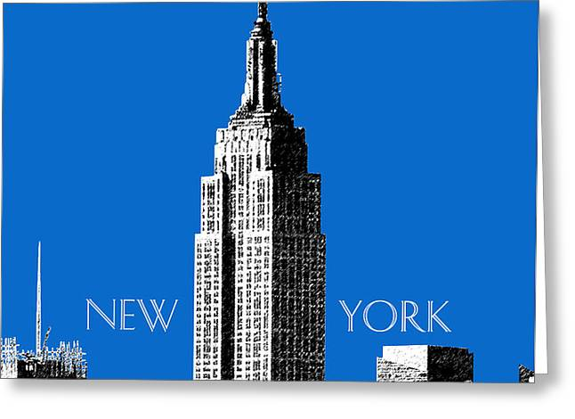 New York Skyline Empire State Building - Blue Greeting Card by DB Artist