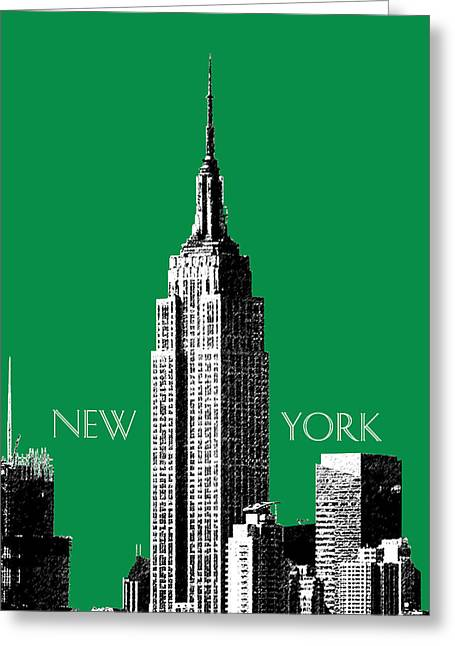Pen And Ink Greeting Cards - New York Skyline Empire State Building - Forest Green Greeting Card by DB Artist