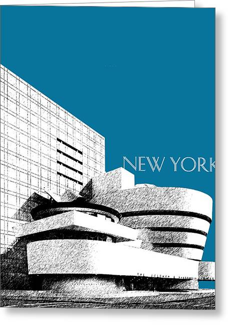 Guggenheim Greeting Cards - New York Skyline Guggenheim Art Museum - Steel Blue Greeting Card by DB Artist