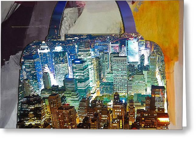 Handbag Greeting Cards - New York Skyline in a Handbag Greeting Card by Marvin Blaine