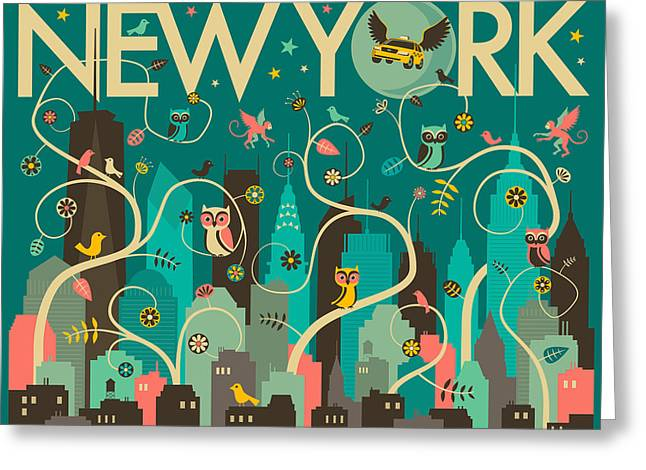 New York Skyline Greeting Card by Jazzberry Blue