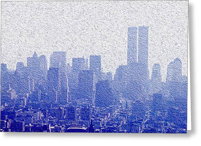 Center City Mixed Media Greeting Cards - New York Skyline Greeting Card by Jon Neidert