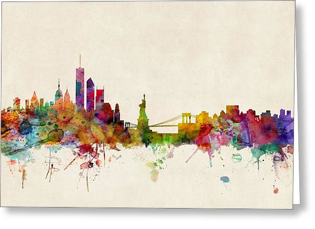 Watercolour Greeting Cards - New York Skyline Greeting Card by Michael Tompsett
