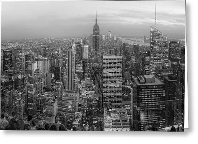 New York Skyline Panorama Bw Greeting Card by Yhun Suarez