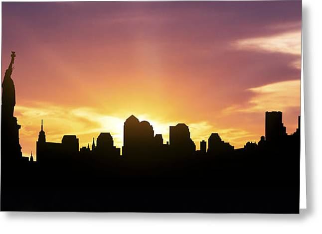 Down Town Greeting Cards - New York Skyline Panorama Sunset Greeting Card by Aged Pixel