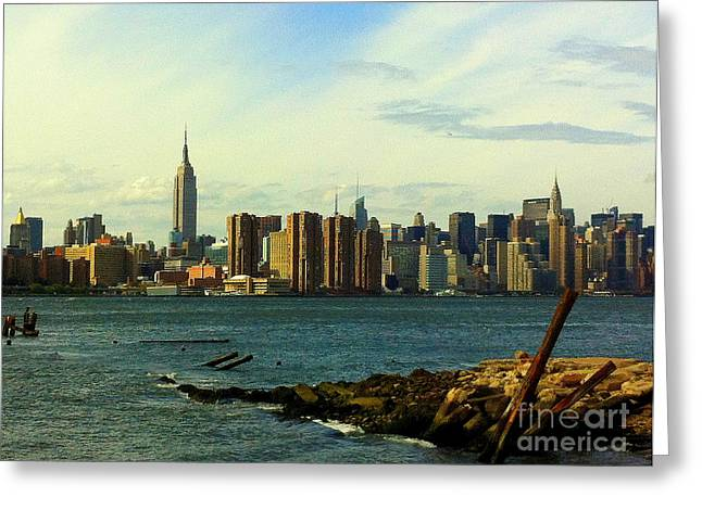 New York Skyline - Seen From The Brooklyn Waterfront Greeting Card by Miriam Danar