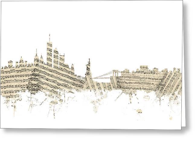 Manhattan Greeting Cards - New York Skyline Sheet Music Greeting Card by Michael Tompsett