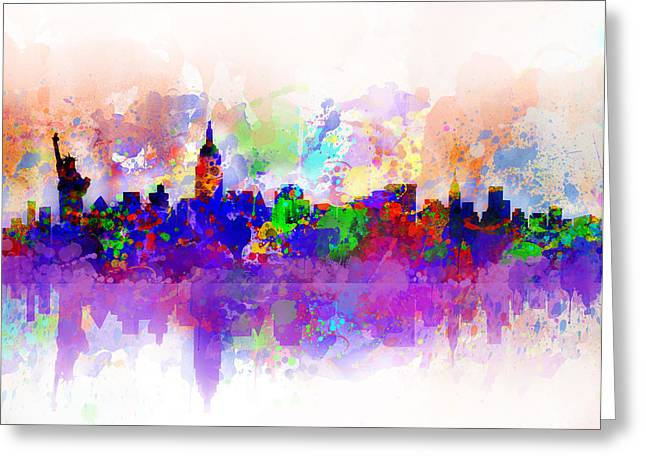 Times Square Digital Art Greeting Cards - New York Skyline Splats 3 Greeting Card by MB Art factory