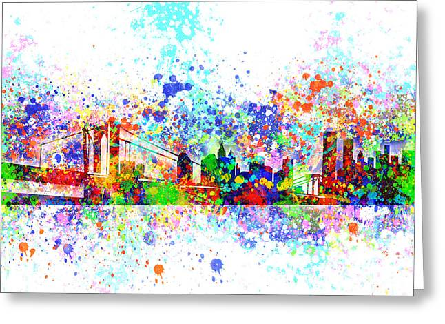 Nyc Posters Digital Art Greeting Cards - New York Skyline Splats Greeting Card by MB Art factory