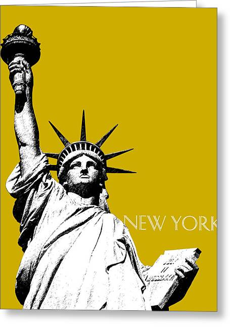 Statue Of Liberty Greeting Cards - New York Skyline Statue of Liberty - Gold Greeting Card by DB Artist