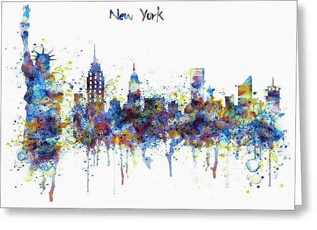 Liberty Building Greeting Cards - New York skyline watercolor Greeting Card by Marian Voicu