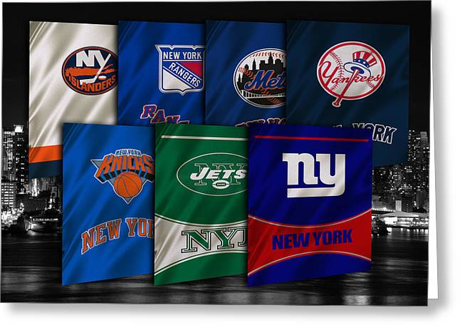 Knicks Greeting Cards - New York Sports Teams Greeting Card by Joe Hamilton