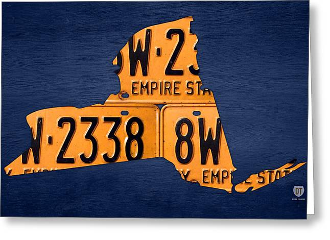 Buffalo Mixed Media Greeting Cards - New York State License Plate Map Greeting Card by Design Turnpike